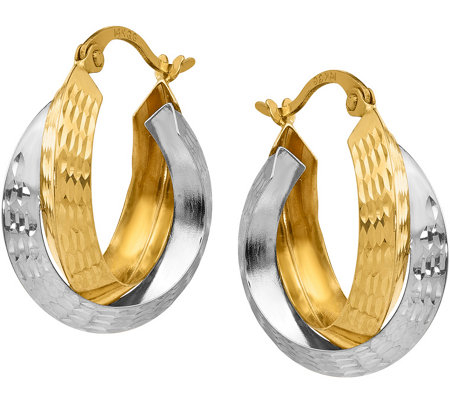 Italian Gold Two-tone Diamond-Cut Nested Hoops14K