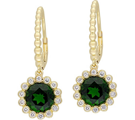 14K 2.80 cttw Chrome Diopside & 1/4 cttw Diamond Earrings