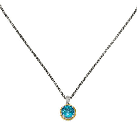 Sterling 14k Swiss Blue Topaz Diamond Pendant W 18 Chain