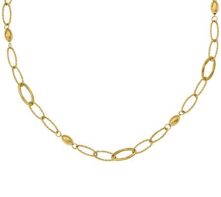 14k Oversized Oval Link Beaded Necklace 5 3g