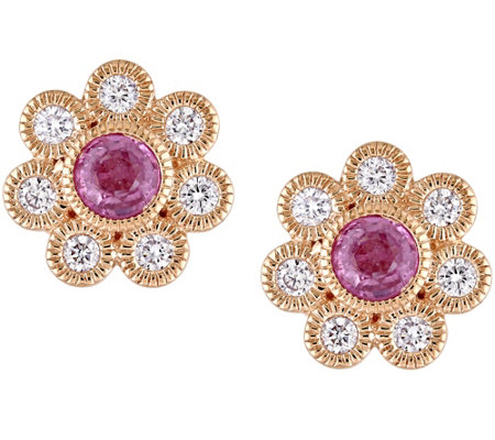 14K 0.60 cttw Pink Sapphire & 3/8 cttw DiamondStud Earrings