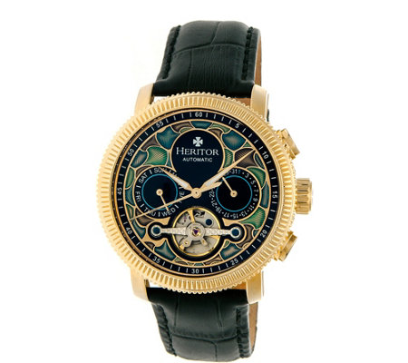 Heritor Automatic Aura Watch - Goldtone/Black