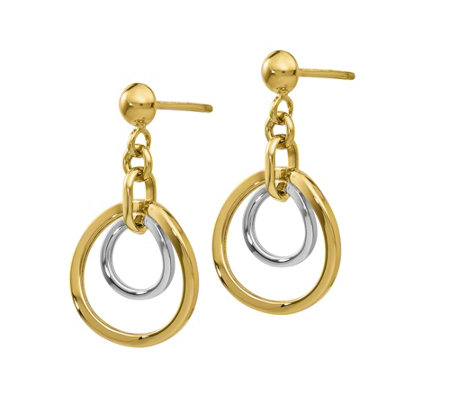 14K Gold Two-Tone Double Circle Dangle Earrings