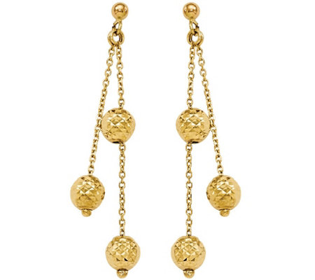 Italian Gold Diamond-Cut Beaded Dangle Earrings14K, 2.9g