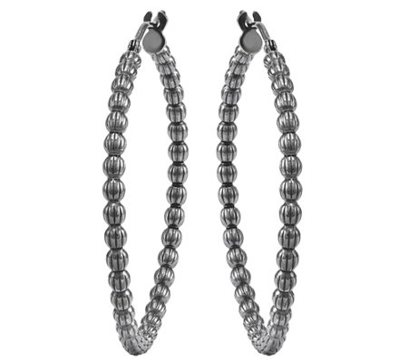 "Italian Silver 1-1/2"" Beaded Hoop Earring"