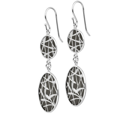 Italian Silver Two-Tone Double-Disc Dangle Earrings