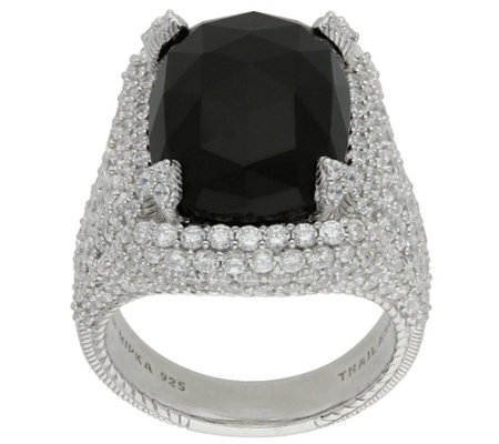 Judith Ripka Sterling Black Onyx and DiamoniqueRing