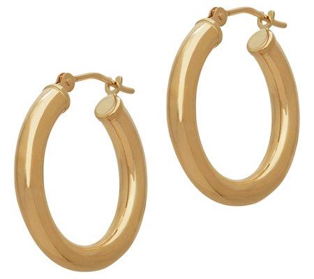 Eternagold Polished Round Hoop Earrings 14k Gold