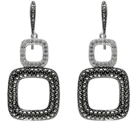 Suspicion Sterling Marcasite & Crystal Dangle Earrings