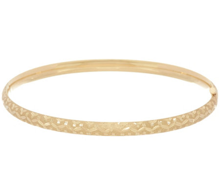 "EternaGold 7-1/2"" Tribal Pattern Bangle Bracelet 14K Gold"