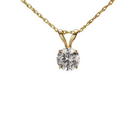 Diamonique 0.50 ct Round Solitaire Pendant w/Chain, 14K Gold