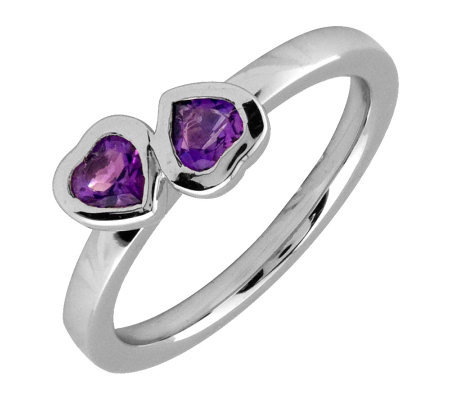 Simply Stacks Sterling & Amethyst Double-HeartRing