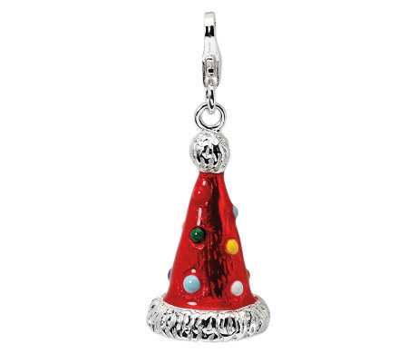 Amore La Vita Sterling Dimensional Red PartyHatCharm