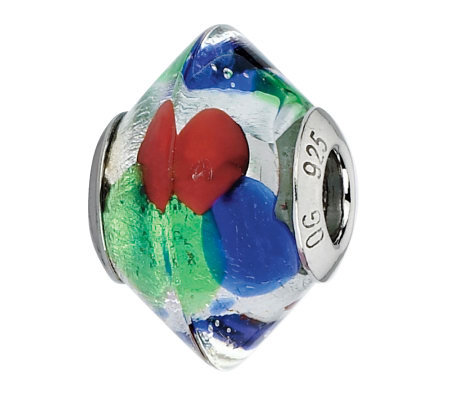 Prerogatives Blue/Green/Red Italian Murano Glass Bead