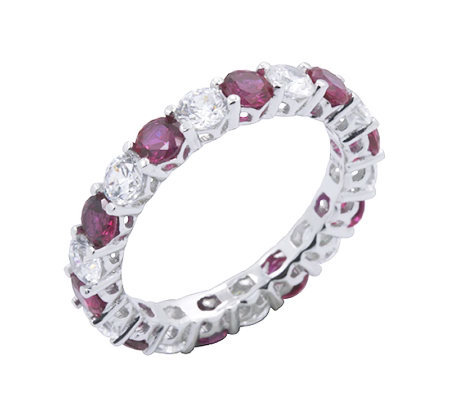 Diamonique & Simulated Ruby Eternity Band Ring, Platinum Clad