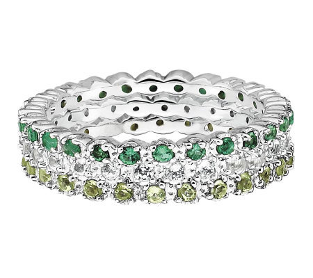 Simply Stacks Sterling Wht Topaz, Emerald, & Peridot Ring Set