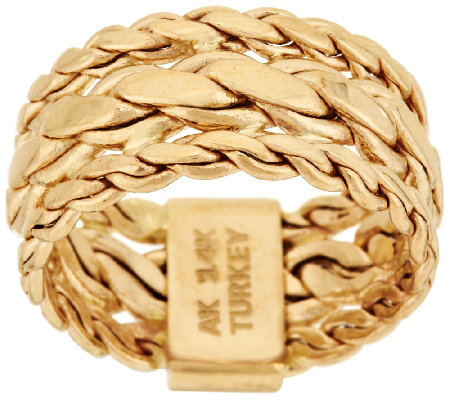 14K Gold Braided Woven Curb Link Design Ring