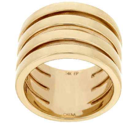 14K Gold Polished Four Row Band Ring