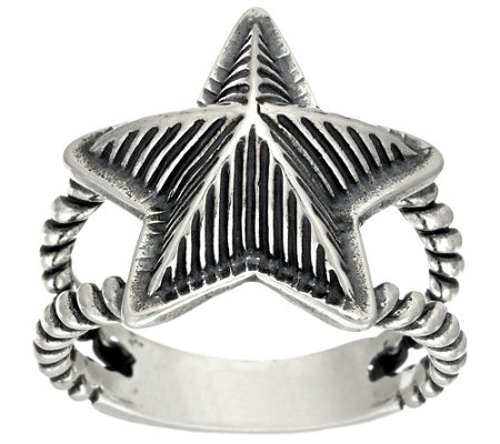 American West Sterling Choice Of Textured Star Ring