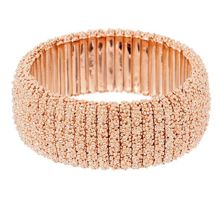 """As Is"" Bronzo Italia Beaded Texture Stretch Bracelet"