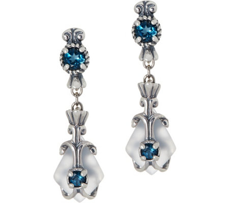 Carolyn Pollack Sterling Silver Frosted Quartz & Blue Topaz Dangle Earrings
