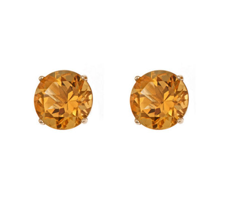 5mm Round Semi-Precious Gemstone Stud Earrings,14K Yellow