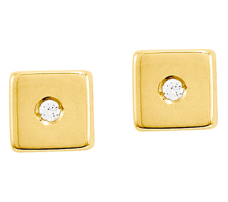 Square Block with Crystal Post Earrings, 14K Gold