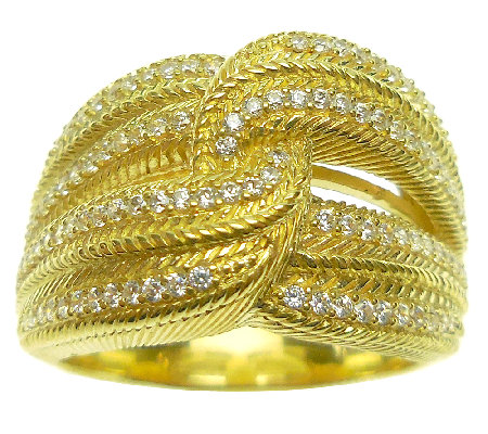 Judith Ripka 14K Clad Diamonique Interlocking Ring
