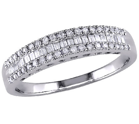 Baguette & Round Diamond Ring, 14K White Gold,by Affinity