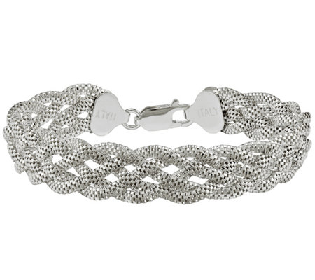 "Sterling Silver Mesh Braided 7-1/2"" Bracelet by Silver Style"