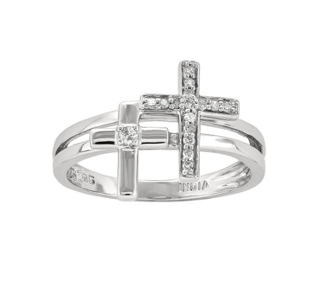 Sterling Double Cross 1/10 cttw Diamond Ring
