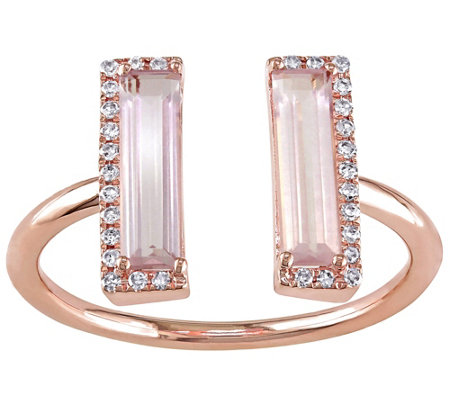 1.15 cttw Pink Quartz & Diamond Accent Ring, 14K Rose Gold