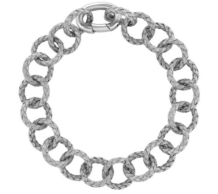 "Sterling Round & Oval Textured 8"" Bracelet"