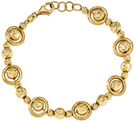 "14K Gold Round Diamond-Cut Bead 7-1/2""  Bracelet, 10.7g"