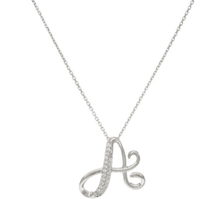 Diamonique Pave' Set Initial Pendant with Chain, Sterling