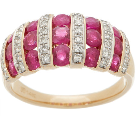 Ruby and Diamond Band Ring, 2.00 cttw, 14K Gold