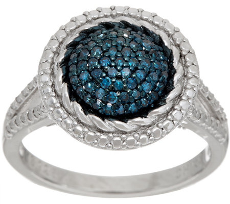 """As Is"" Pave' Round Colored Diamond Ring, Sterl, 1/4cttw by Affinity"