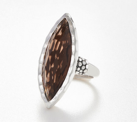 Michael Dawkins Sterling Silver Smoky Quartz Marquise Ring, 12.50 cts