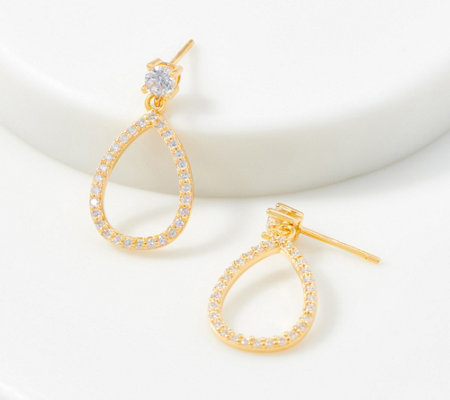 Diamonique Pave Pear Drop Earrings, Sterling Silver