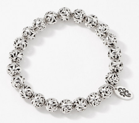 Lois Hill Sterling Silver Carved 8mm Bead Stretch Bracelet, 18.0g