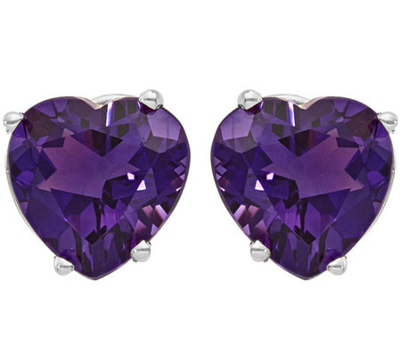 14K White Gold Heart-Shaped Gemstone Post E arrings