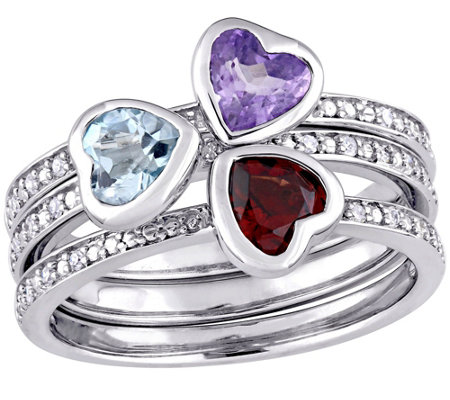 1.50 cttw Heart Gemstone and Diamond Accent Ring Set