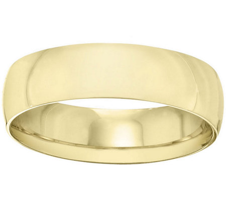 Men's 14K Yellow Gold 6mm Half Round Wedding Band