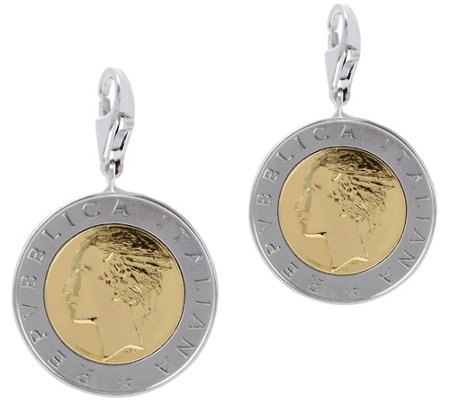 Italian Silver Set of 2 500-Lire Coin Charms,Sterling