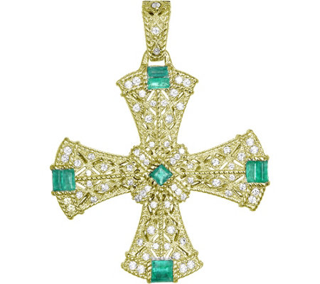 Judith Ripka Sterling & 14K Clad Emerald CrossEnhancer