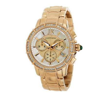 Judith Ripka Stainless Steel Silver or Gold Chronograph Watch