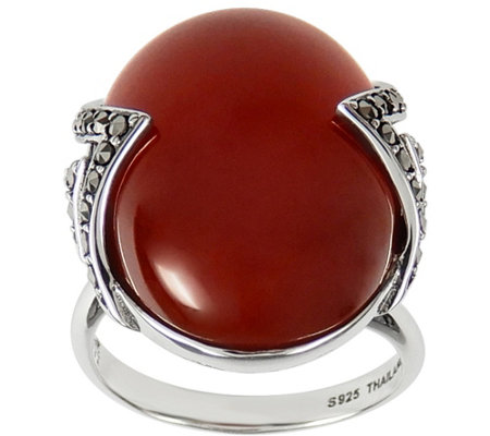 Suspicion Sterling Red Agate & Marcasite Adjustable Ring