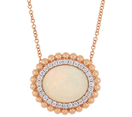 Bellini Ethiopian Opal & 1/4 cttw Diamond Halo Necklace
