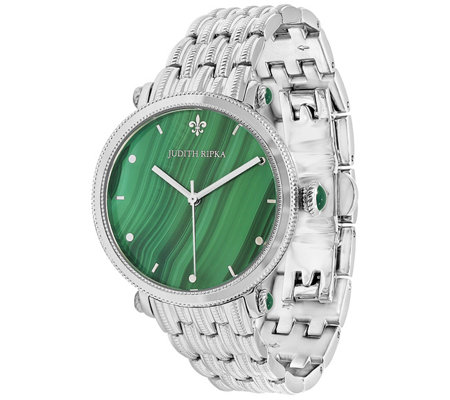 Judith Ripka Stainless Steel Malachite Link Watch