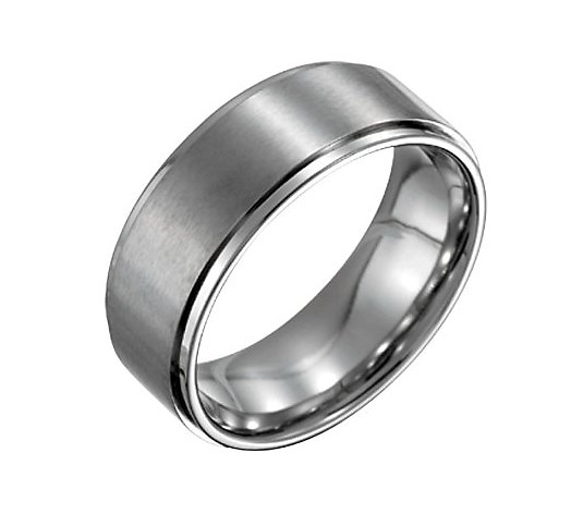 Steel by Design Men's 8mm Ring w/Ridged Edge